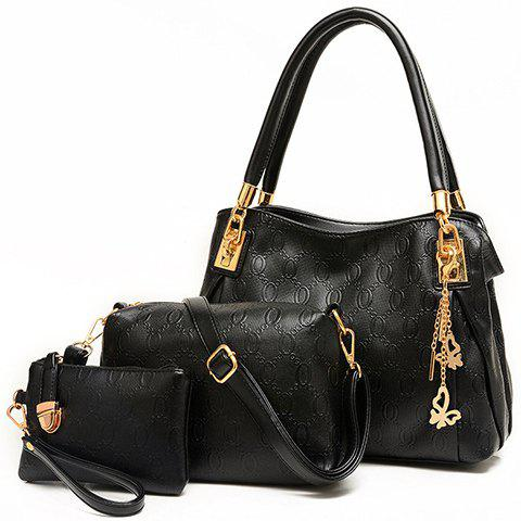Gorgeous Metallic and Embossing Design Shoulder Bag For Women - BLACK