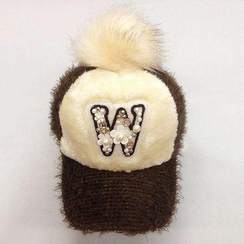 Cute Flower and Faux Pearl Decorated Letter W Pattern Women's Downy Hat - COFFEE