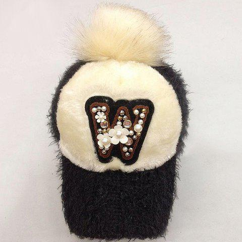 Cute Flower and Faux Pearl Decorated Letter W Pattern Women's Downy Hat - DEEP GRAY