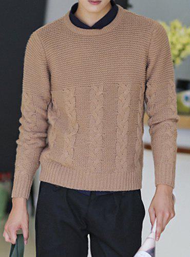 Fashion Solid Color Kink Stripe Design Round Neck Long Sleeve Thicken Slimming Men's Cotton Blend Sweater - LIGHT COFFEE XL