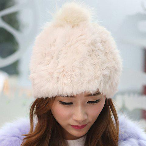 Stylish Fuzzy Ball Embellished Downy Hat For Women - OFF WHITE