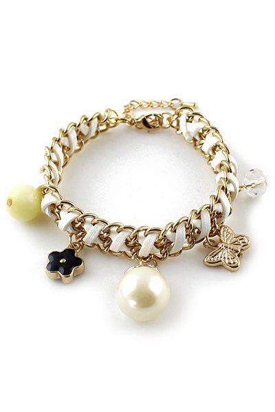 Butterfly Star Faux Pearl Decorated Bracelet - WHITE