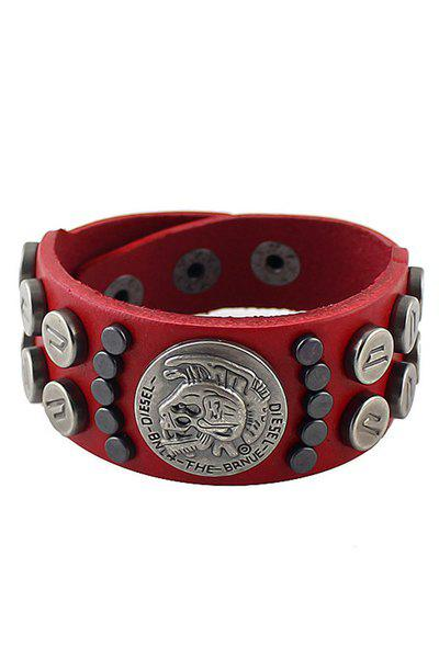 Rivet Decorated Leather Bracelet - RED