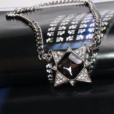 Fashion Women's Rhinestone Diamond Shape Sweater Chain Necklace - SILVER