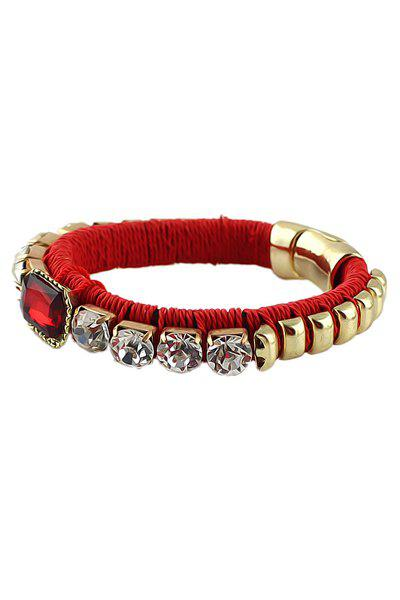 Alloy Rhinestone Decorated Bracelet - RED