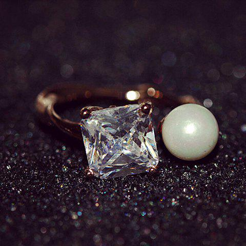 Stylish Women's Square Rhinestone Faux Pearl Design Ring - GOLDEN ONE SIZE(FIT SIZE XS TO M)