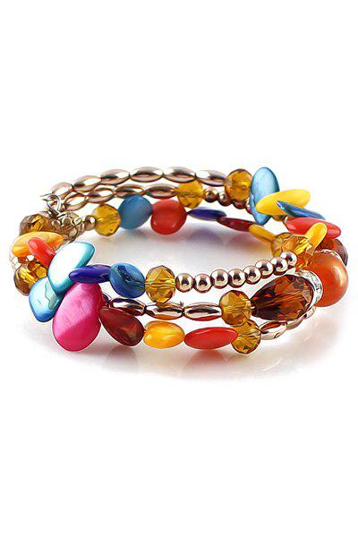 Bohemia Faux Gem Beads Bracelet - COFFEE