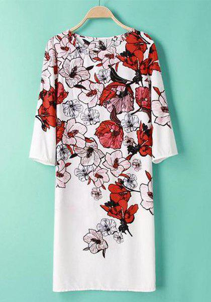 Round Neck Floral Print Fashionable 3/4 Sleeve Dress For Women - AS THE PICTURE S