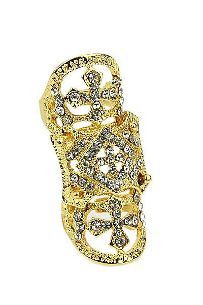 Rhinestone Decorated Special Ring - GOLDEN ONE-SIZE