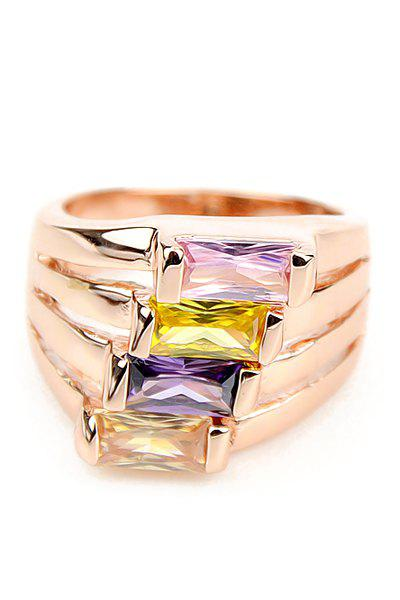 Faux Gemstone Decorated Ring - GOLDEN ONE-SIZE