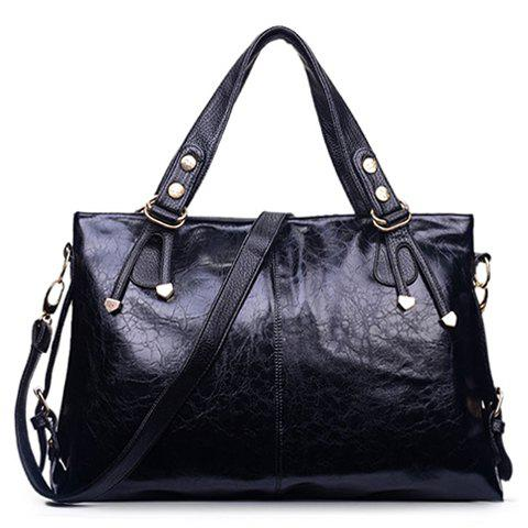 Simple Style Solid Color and Metallic Design Tote Bag For Women - BLACK