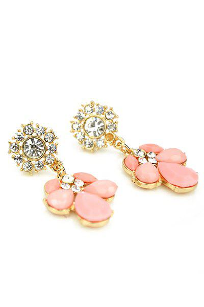 Pair of Faux Gem and Rhinestone Earrings - PINK