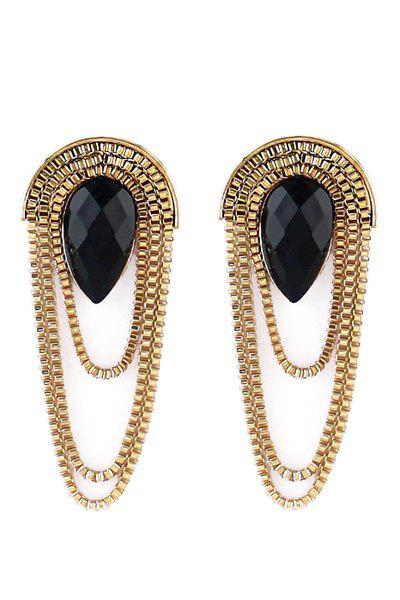 Pair of Tassel Decorated Earrings - BLACK/GOLDEN