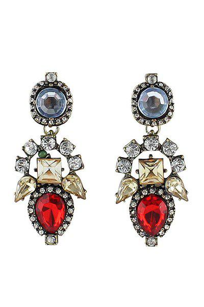 Pair of Colorful Gemstone Earrings - RED