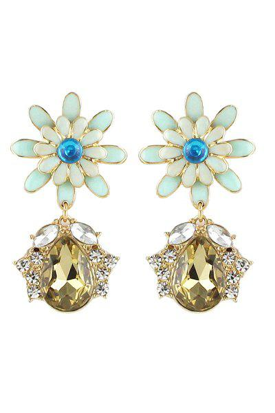 Pair of Gemstone Flower Pendant Earrings - COLORMIX