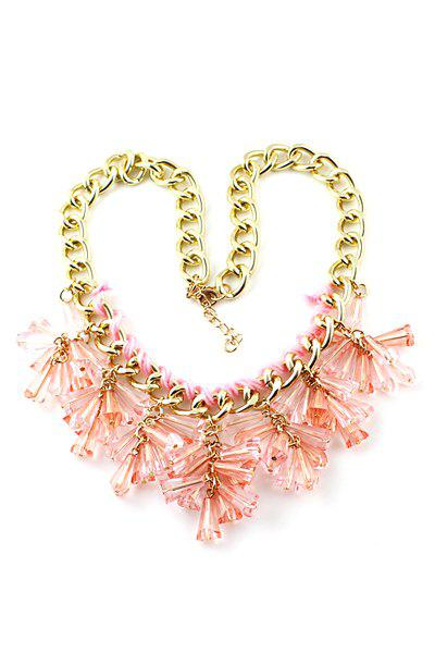 Resin Decorated Pendant Necklace - PINK