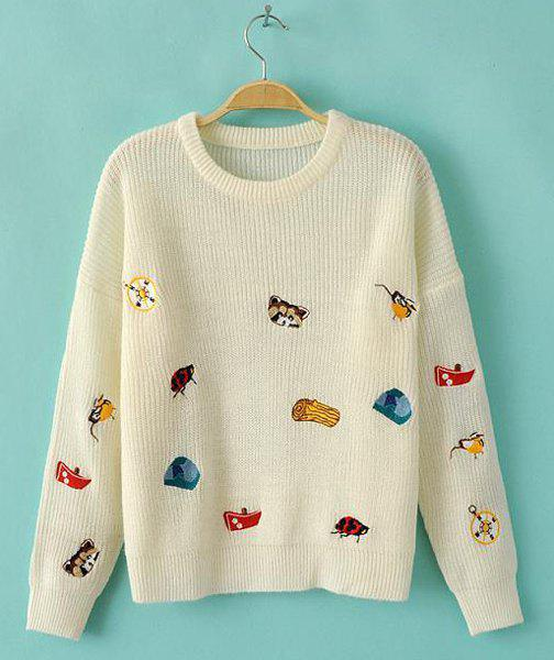 Cute Cartoon Embroidery Jewel Neck Long Sleeve Sweater For Women - WHITE L