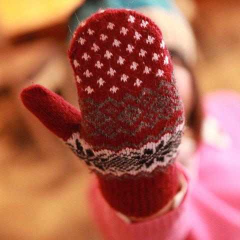 Pair of Cute Geometric Pattern Gloves For Women - COLOR ASSORTED