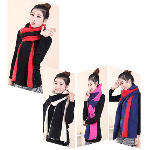 2 in 1 Keep Warm Scarf Knitted Shawl Wrap for Women - BLACK