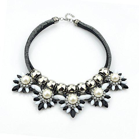 Stylish Faux Gemstone Flower Shape Pendant Necklace For Women - AS THE PICTURE