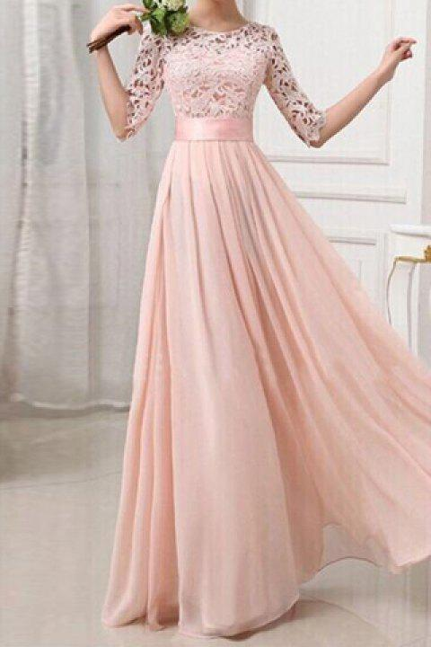 See-Through Formal Princess Dress - PINK M