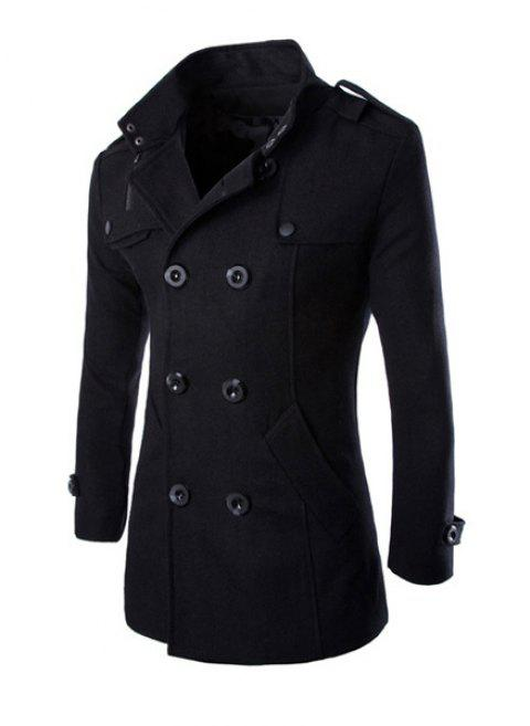 Trendy Stand Collar Shoulder Strap Embellished Slimming Solid Color Long Sleeves Men's Coat - BLACK M