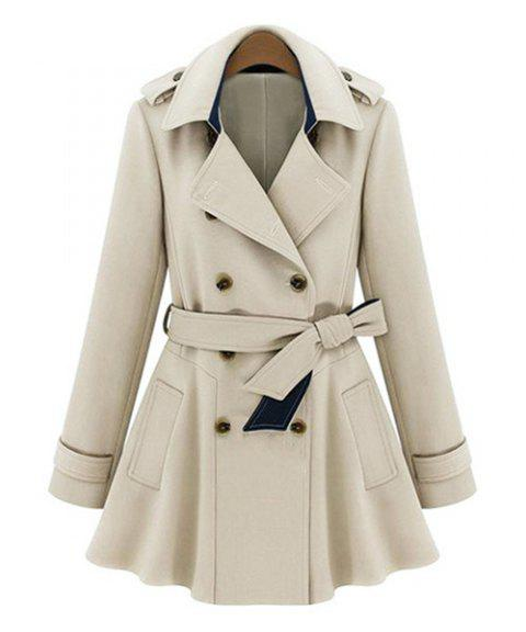 Stylish Women's Turn-Down Collar Long Sleeves Solid Color Double Breasted Trench Coat - APRICOT 2XL
