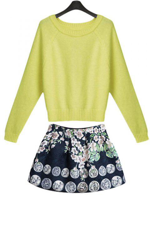 Stylish Long Sleeve Solid Color Sweater and Print Skirt Women's Suit - YELLOW S