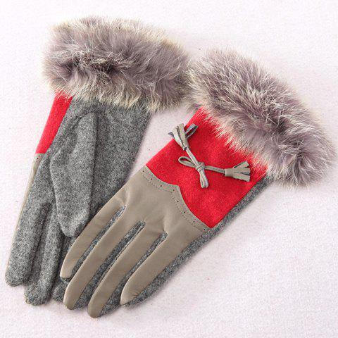 Pair of Chic Bowknot and Splicing Design Women's Gloves - RED/GREY