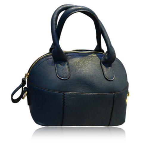 Cute PU Leather and Solid Color Design Tote Bag For Women - DEEP BLUE