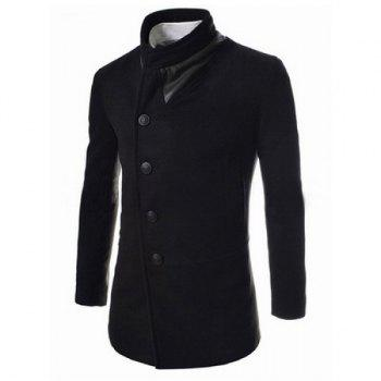 Buy Trendy Slimming Stand Collar Long Sleeves Single-Breasted Design Solid Color Men's Woolen Overcoat BLACK
