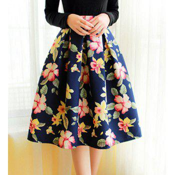 Vintage High-Waisted Ruffled Floral Print Women's Midi Skirt - L L