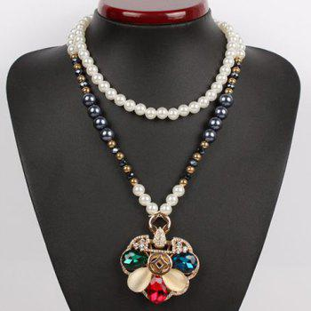 Stylish Cute Women's Rhinestone Colored Petals Shape Sweater Chain Necklace - COLORMIX COLORMIX