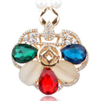 Stylish Cute Women's Rhinestone Colored Petals Shape Sweater Chain Necklace -  COLORMIX