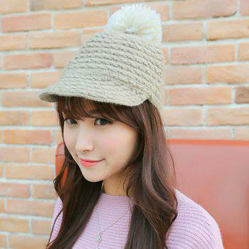 Chic Yarn Ball Decorated Striped Jacquard Women's Knitted HorsemanHat