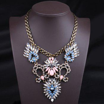 Delicate Faux Gem Flower Decorated Women's Necklace