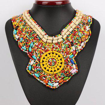 Stylish Chic Women's Geometric Shape Colored Beads Necklace