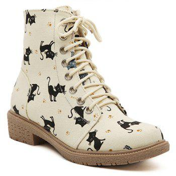 Preppy Lace-Up and Kitten Design Flat Short Boots For Women - APRICOT APRICOT