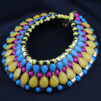 Chic Bohemia Women's Colored Beads Decorated Detachable Collar Necklace - YELLOW