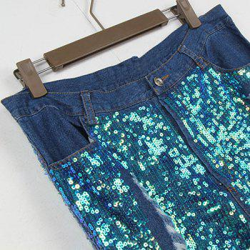 Street Style Color Block Button Fly Broken Hole Sequin Jeans For Women - L L