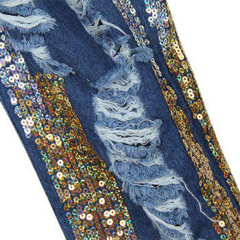 Street Style Color Block Button Fly Broken Hole Sequin Jeans For Women - BLUE BLUE