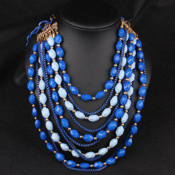 Stylish Beads Decorated Multi-Layered Women's Sweater Chain Necklace - BLUE BLUE