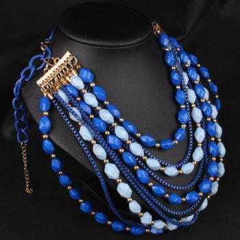 Stylish Beads Decorated Multi-Layered Women's Sweater Chain Necklace - BLUE
