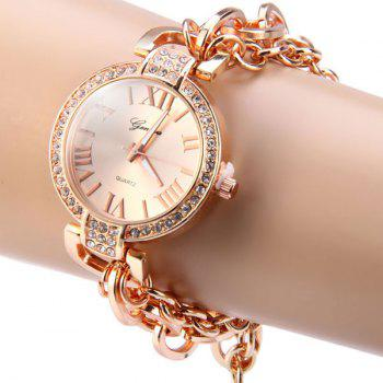 Geneva Ladies Quartz Chain Watch Diamond Stainless Steel Band Round Dial