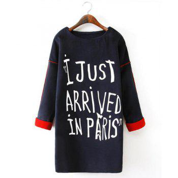 Round Neck Letter Print Splicing Casual Style Long Sleeve Dress For Women