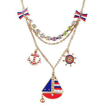 Delicate Multi-Layered Ship Shape Pendant Women's Necklace