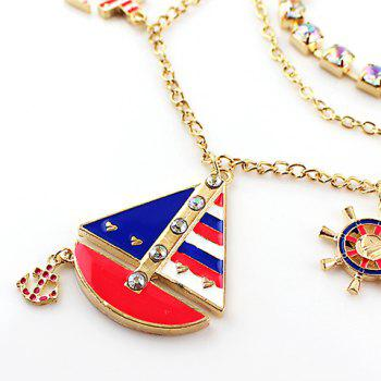 Delicate Multi-Layered Ship Shape Pendant Women's Necklace - AS THE PICTURE