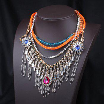 Chic Fashionable Women's Drop Rhinestone Tassel Necklace - AS THE PICTURE