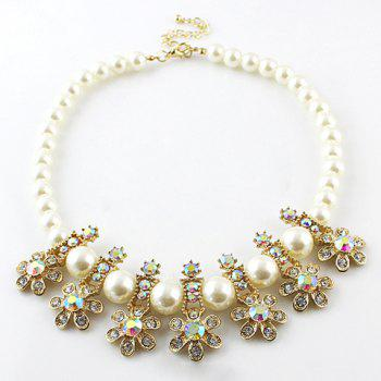 Delicate Rhinestone and Faux Pearl Pendant Women's Necklace