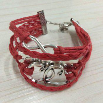 Heart Letter Infinity Layered Bracelet - COLOR ASSORTED